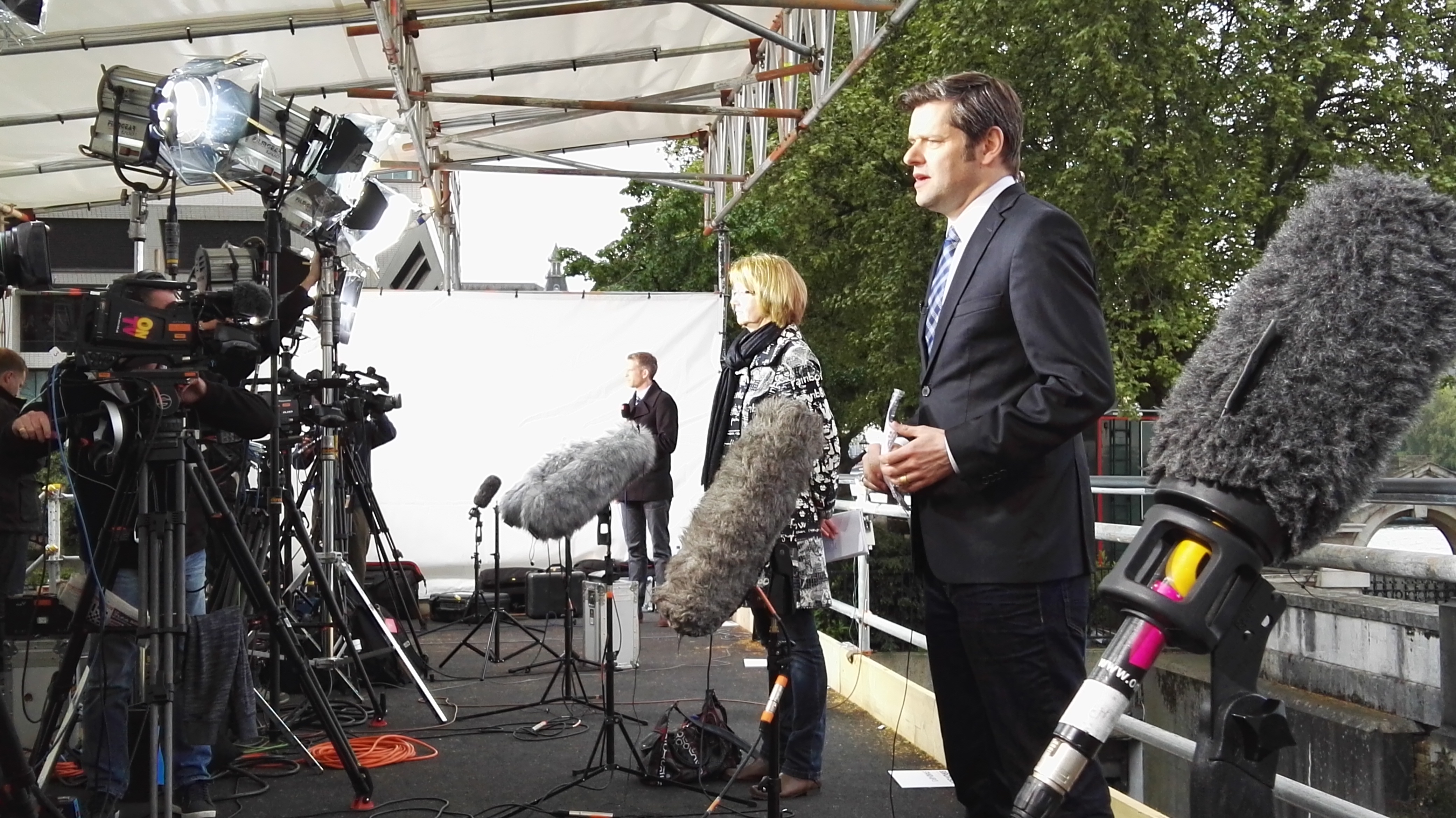 Camera crews filming the general election
